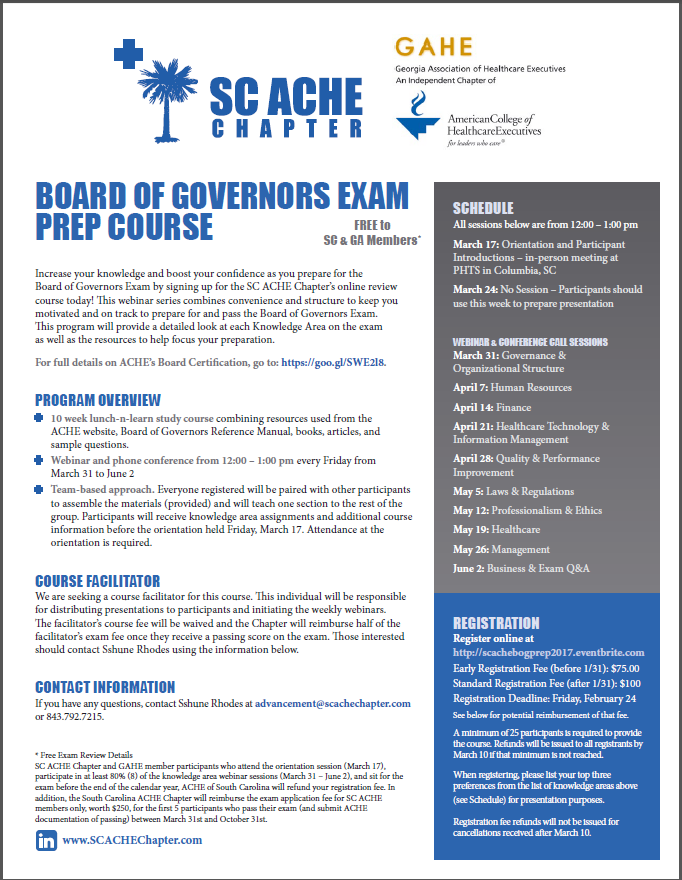 2017 Board Of Governors Exam Prep Course Sc Ache Chapter